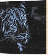 Leopard In The Darkness.  Wood Print