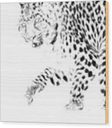 Leopard Spots Black And White Wood Print
