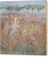 Leopard With Cub Wood Print