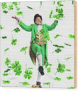 Leprechaun Tossing Shamrock Leaves Up In The Air Wood Print by Oleksiy Maksymenko