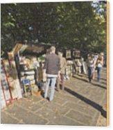 Les Bouquinistes Wood Print