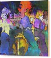 Les Filles Du Cafe De La Nuit Wood Print