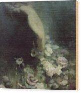 Les Fleurs Du Sommeil Wood Print by Achille Theodore Cesbron