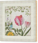Les Magnifiques Fleurs I - Magnificent Garden Flowers Parrot Tulips N Indigo Bunting Songbird Wood Print