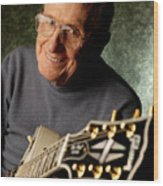 Les Paul With His White Gibson Les Paul Custom Guitar By Gene Martin Wood Print