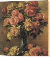 Les Roses Dans Un Vase Wood Print