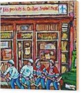 Les Scenes De Pointe St Charles Les Produits Smoked Meat Avec Partie De Hockey Wood Print