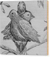 Les Trois Oiseaux Wood Print