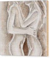 Lesbians Kissing Wood Print