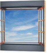 Let The Blue Sky In Wood Print by Carlos Caetano
