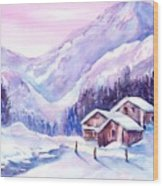 Swiss Mountain Cabins In Snow Wood Print
