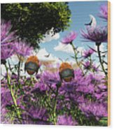 Two Bumblebees Discover The World Wood Print