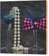 Lets Party Vintage Blue Martini Glasses On Black Sla Wood Print