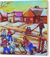 Lets Play Hockey Wood Print