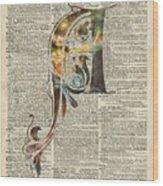 Letter A Monogram Wood Print