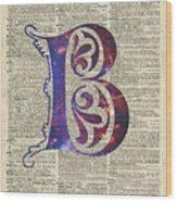 Letter B Monogram Wood Print