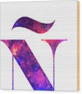 Letter Galaxy In White Background Wood Print