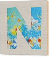 Letter N Roman Alphabet - A Floral Expression, Typography Art Wood Print