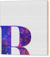 Letter R Galaxy In White Background Wood Print