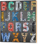Letters Of The Alphabet Recycled Vintage License Plate Art With Apple Colorful School Nursery Kids Room Print Wood Print