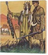 Lewis And Clark Expedition Scene Wood Print
