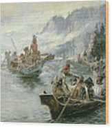 Lewis And Clark On The Lower Columbia River Wood Print