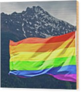 Lgbtq Rainbow Flag With Snowy Mountain Background View Wood Print