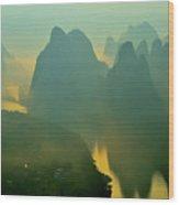 Li River At Dawn  Wood Print