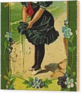 Libbys Bookmark Vintage With Girl On Beach Wood Print