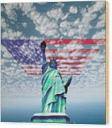 Liberty And Flag Wood Print