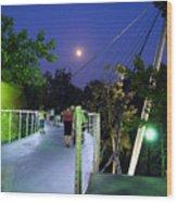 Liberty Bridge At Night Greenville South Carolina Wood Print