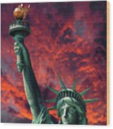 Liberty On Fire Wood Print