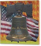 Liberty On Fire Wood Print