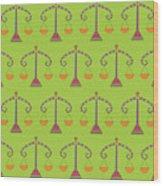 Libra Zodiac Sign Pattern Wood Print