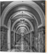 Library Of Congress Building Hallway Bw Wood Print