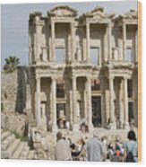 Library Ruins At Ephesus Turkey Wood Print