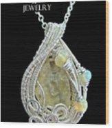Libyan Desert Glass Meteorite Impactite Pendant In Sterling Silver With Ethiopian Opals Ldgpss11 Wood Print