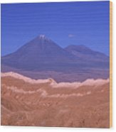 Licancabur Volcano Seen From The Atacama Desert Chile Wood Print