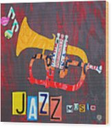 License Plate Art Jazz Series Number One Trumpet Wood Print