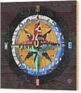 License Plate Compass North South East West Road Trip Letters On Old Red Barn Wood Wood Print