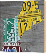 License Plate Map Of New England States Wood Print