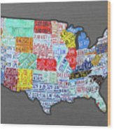 License Plate Map Of The United States Edition 2016 On Steel Background Wood Print