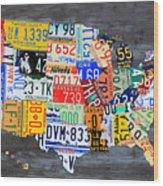 License Plate Map Of The Usa On Gray Distressed Wood Boards Wood Print