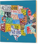 License Plate Map Of The Usa On Royal Blue Wood Print