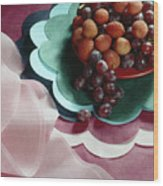 Lichees And Grapes Wood Print