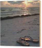 Lido Beach Sandals Wood Print