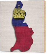 Liechtenstein Map Art With Flag Design Wood Print
