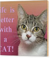 Life Is Better With A Cat Wood Print