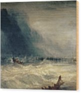 Lifeboat And Manby Apparatus Going Off To A Stranded Vessel Making Signal Of Distress Wood Print