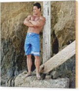 Lifeguard At El Matador Wood Print
